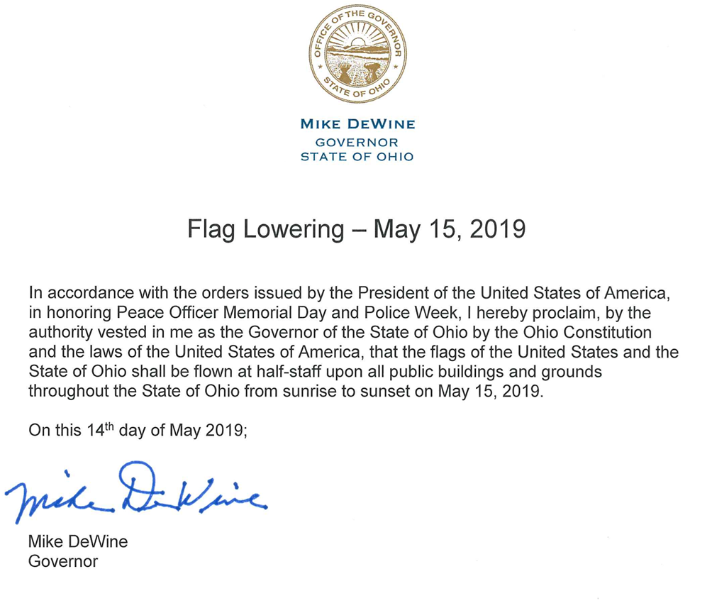Flag Lowering - May 15, 2019 — Perry County Ohio