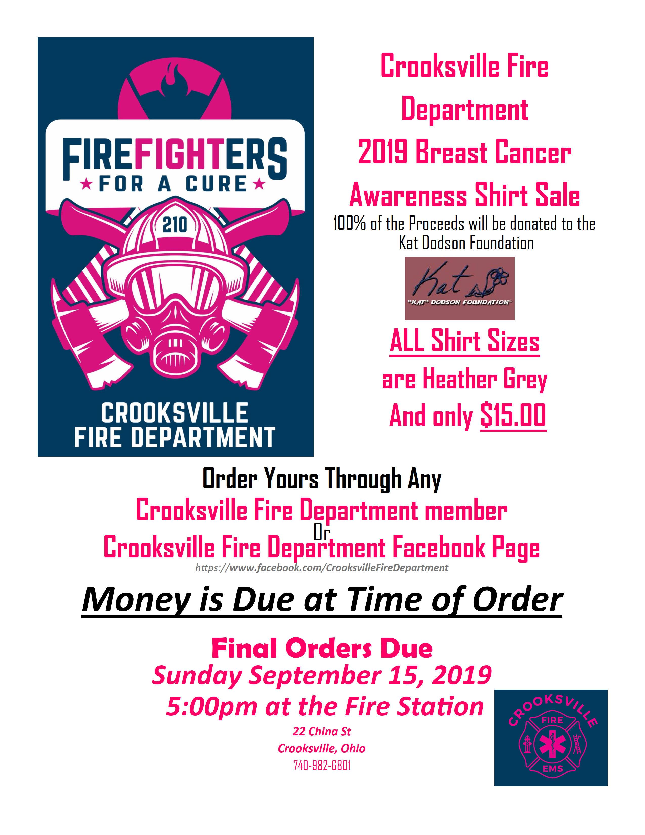 Crooksville Fire Department 2019 Breast Cancer Awareness T Shirt